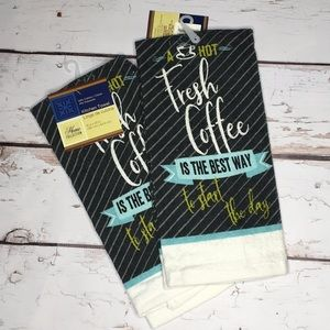 Coffee Blue and Black Kitchen Towels NWT